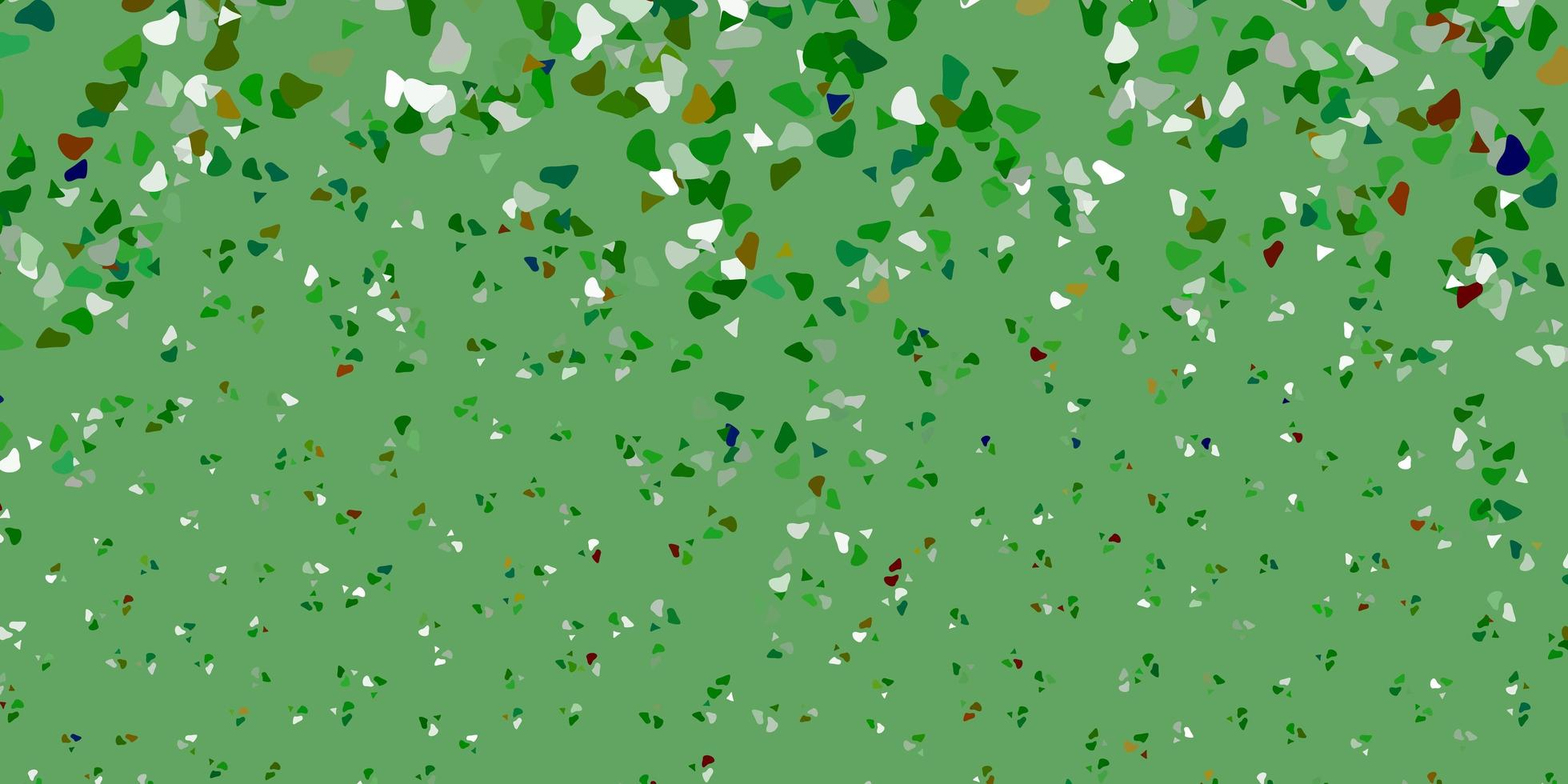 textura de vetor verde claro e vermelho com formas de memphis.