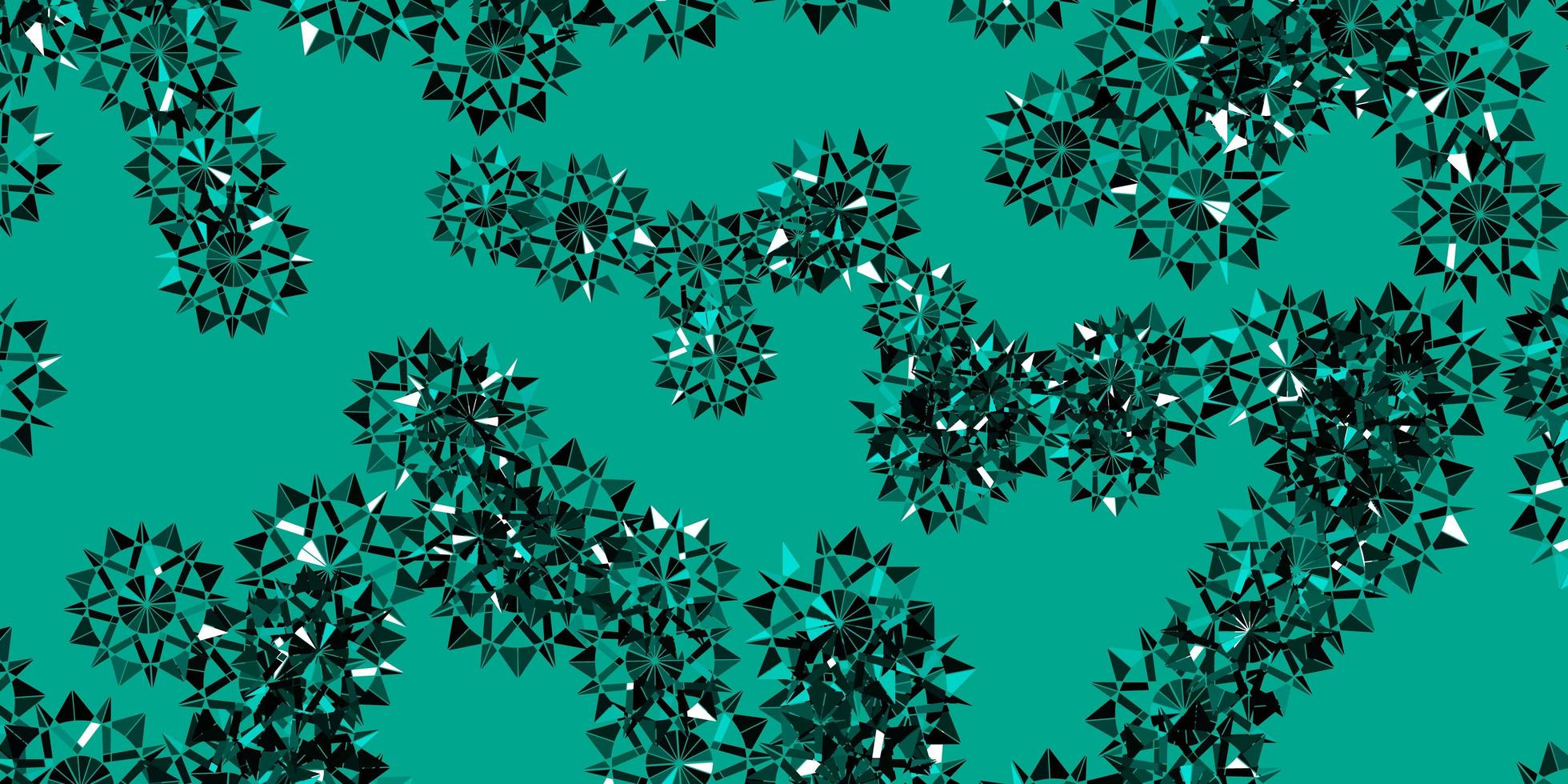 luz de fundo verde vetor com flocos de neve de Natal.