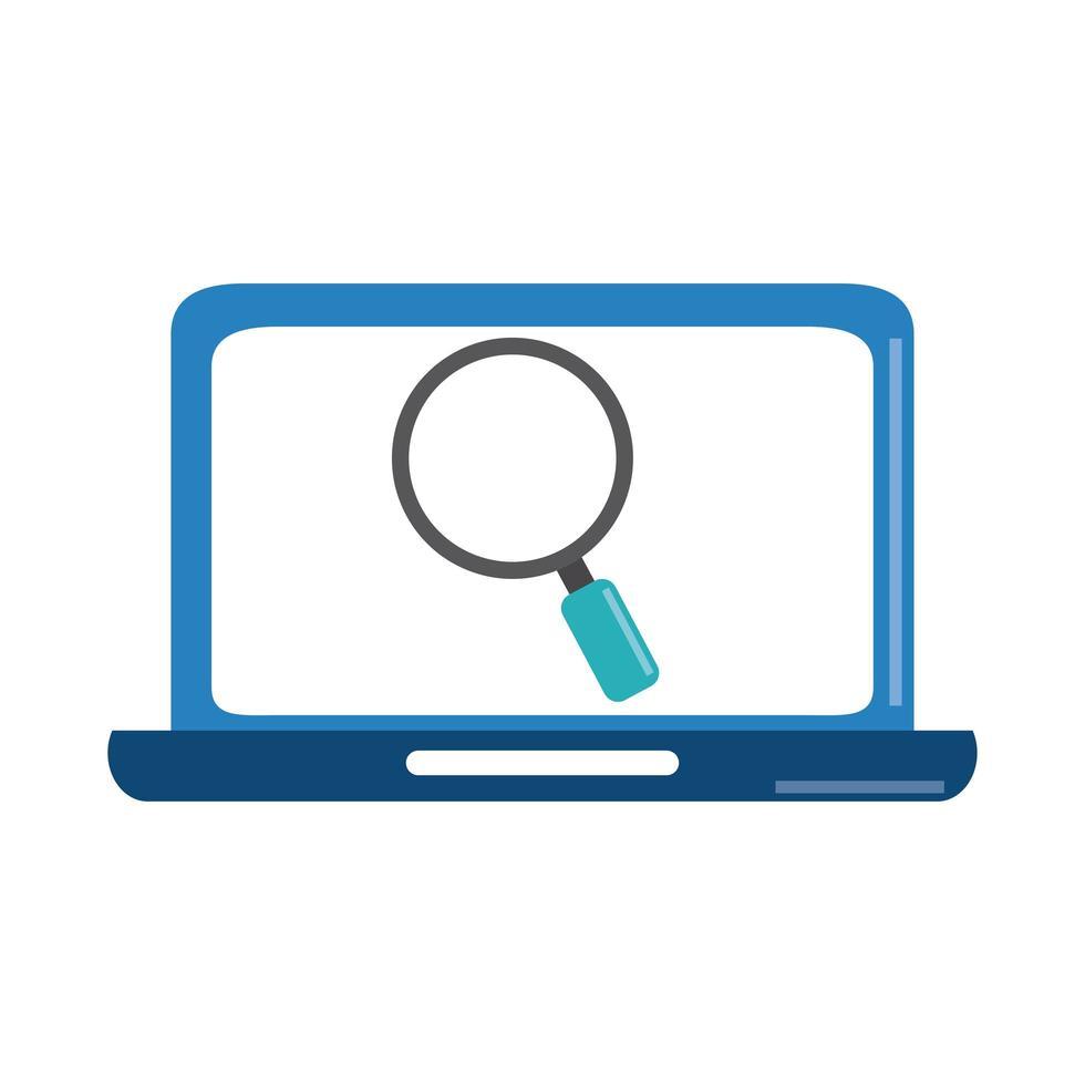 análise de dados, estratégia de negócios de lupa de laptop e ícone plano de investimento vetor