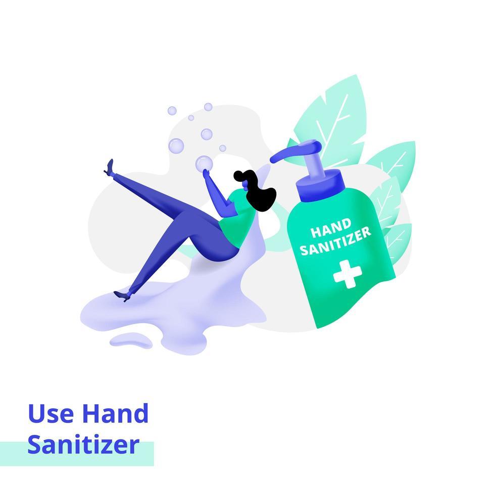 ilustração da página de destino usando desinfetante para as mãos vetor