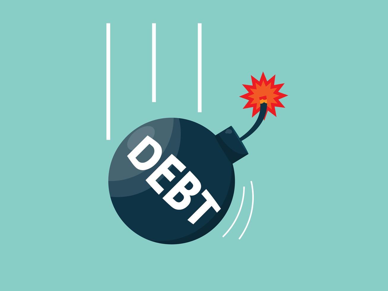 bomba da dívida caindo do céu vetor