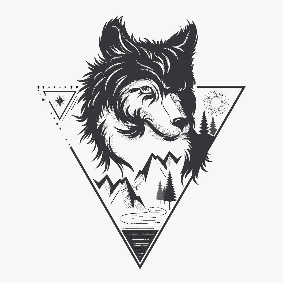 cabeça de lobo com a natureza vetor