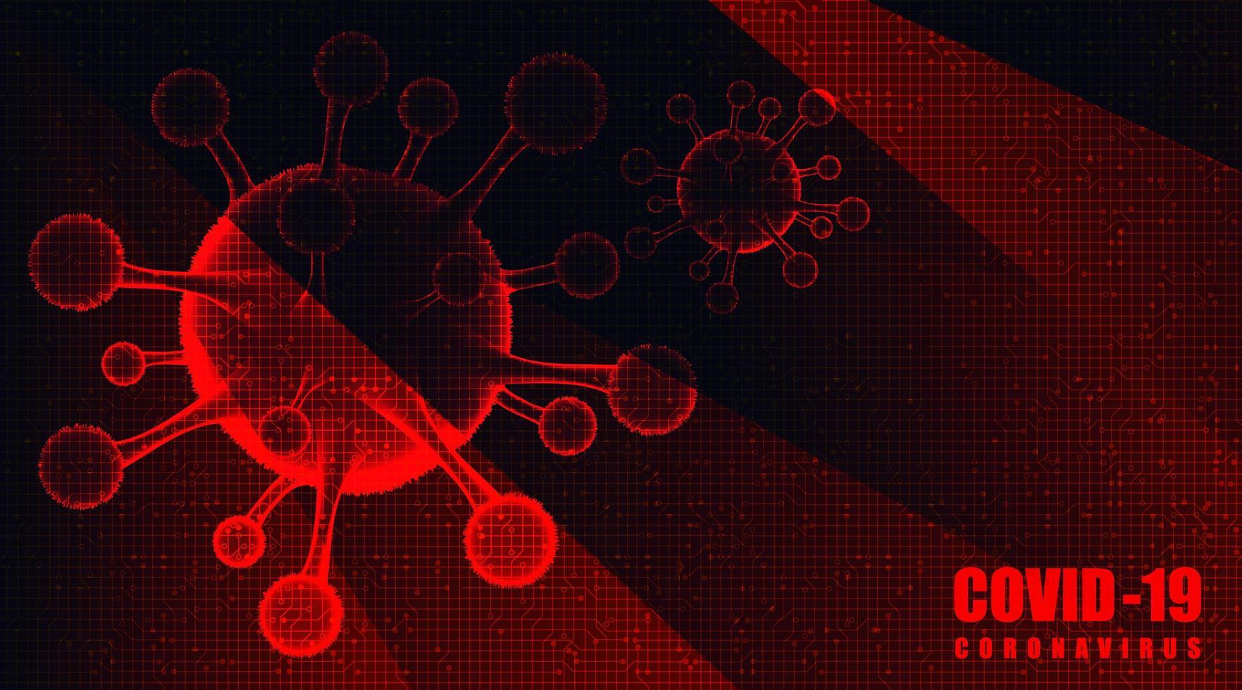 Surto de coronavírus vermelho 2019-ncov em fundo de tecnologia vetor