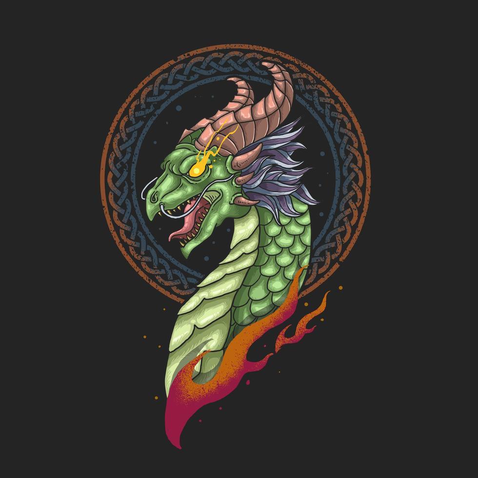 vetor de ilustração de cabeça de dragão viking nórdico