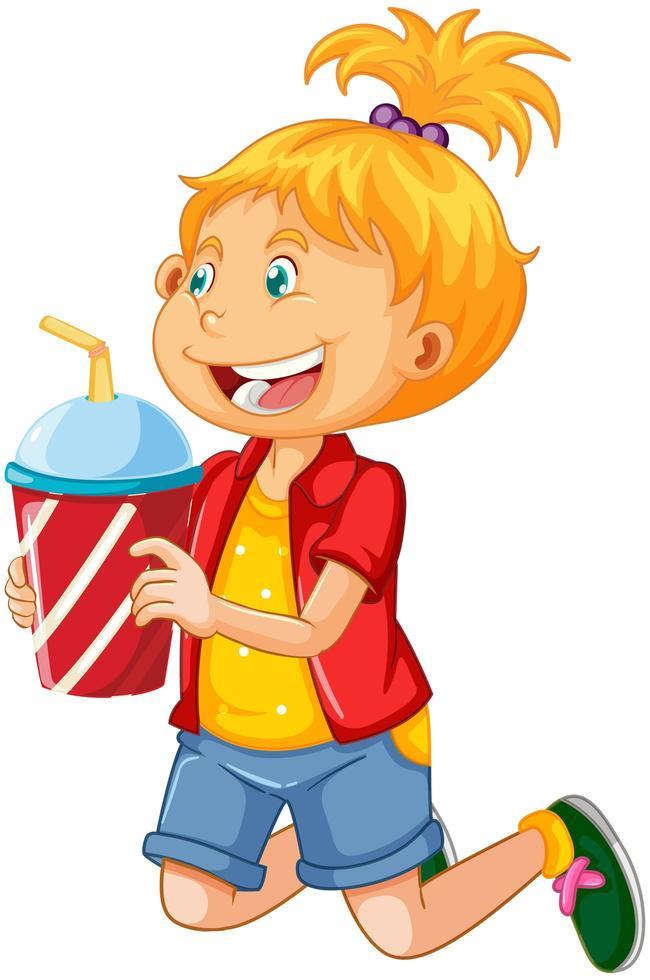 uma linda garota segurando um copo de bebida personagem de desenho animado isolado no fundo branco vetor