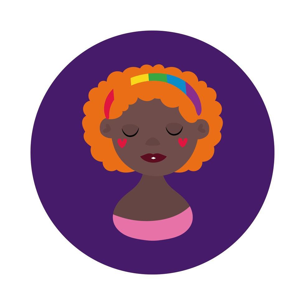 personagem lésbica negra estilo bloco de orgulho gay vetor