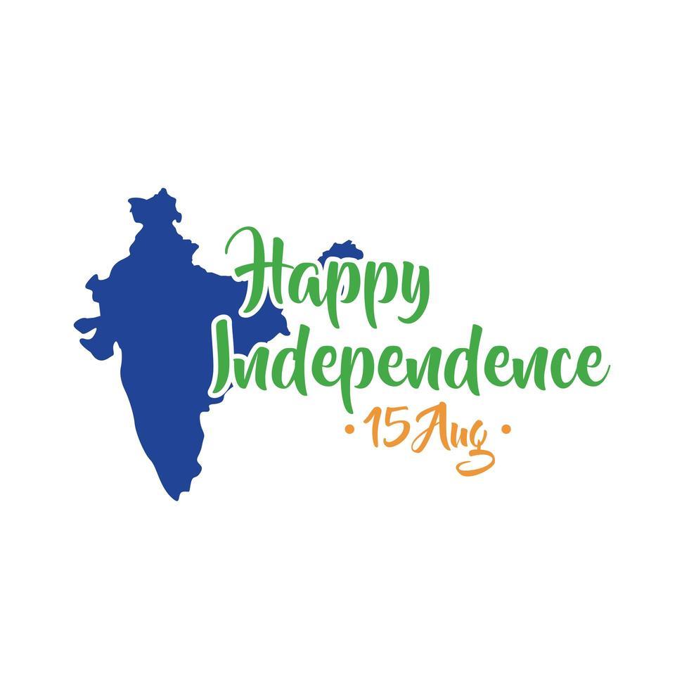 celebração do dia da independência da índia com mapa em estilo simples vetor