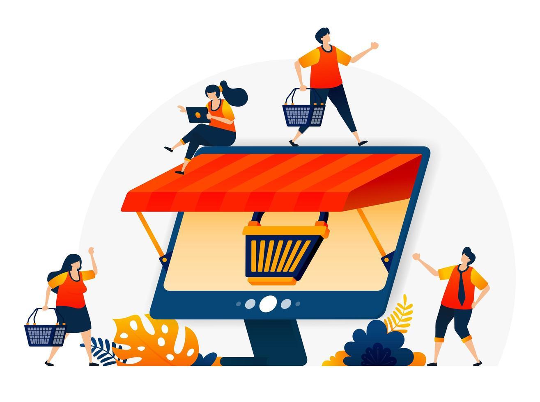 ilustração de e-commerce online com uma metáfora de carrinho de compras e monitor com um telhado. lojas online de atacado e varejo. modelo de design de vetor para página de destino, web, sites, site, banner, folheto