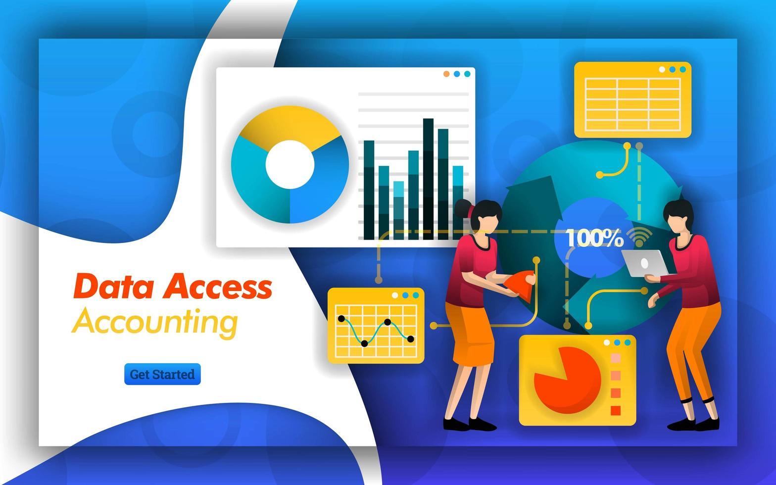a parceria de contabilidade torna mais fácil analisar a contabilidade de acesso a dados para selecionar impostos, serviços e relatórios em contabilidade financeira ou padrões de empresas para facilitar o acesso aos dados. estilo de vetor plano