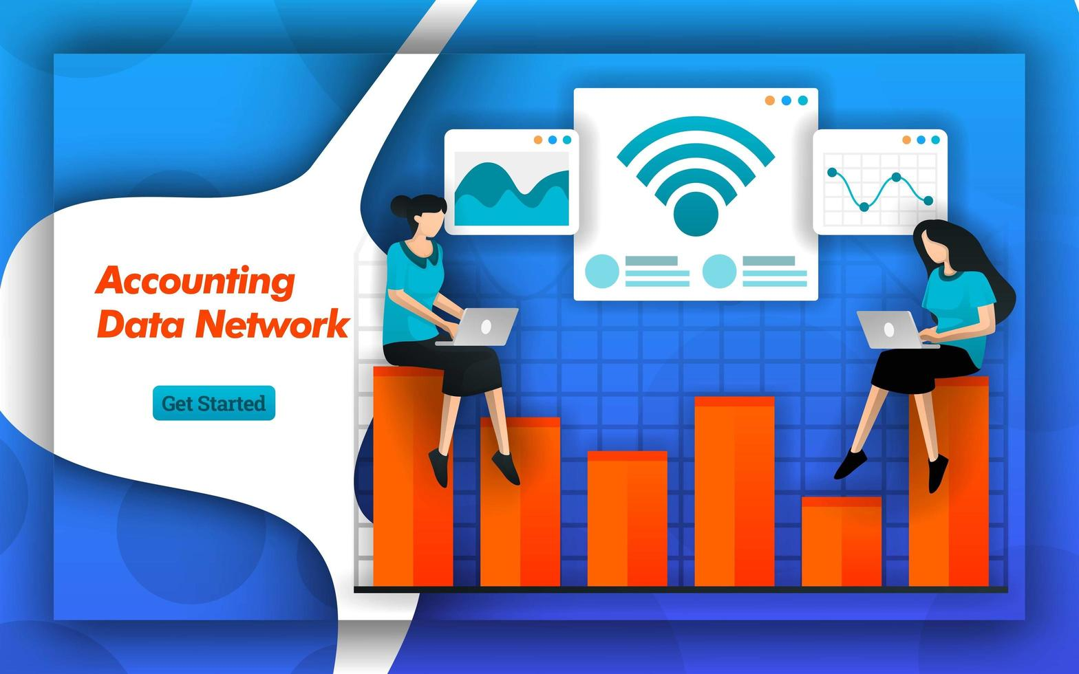 As redes de internet e wi-fi facilitam para a rede de dados contábeis determinar a contabilidade de custos e o planejamento tributário. serviços de contabilidade fornecem acesso a dados para pequenas empresas. estilo de vetor plano