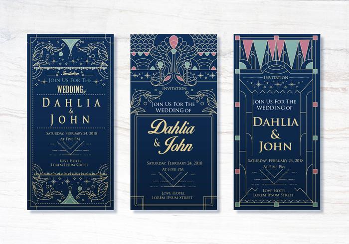 Design de Design de Convites de Casamento Art Deco vetor