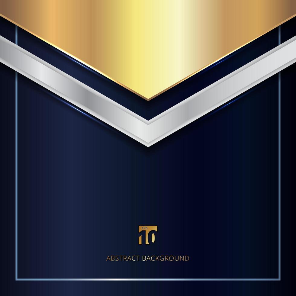 cabeçalho abstrato triângulo geométrico metálico de ouro e prata sobre fundo azul. vetor