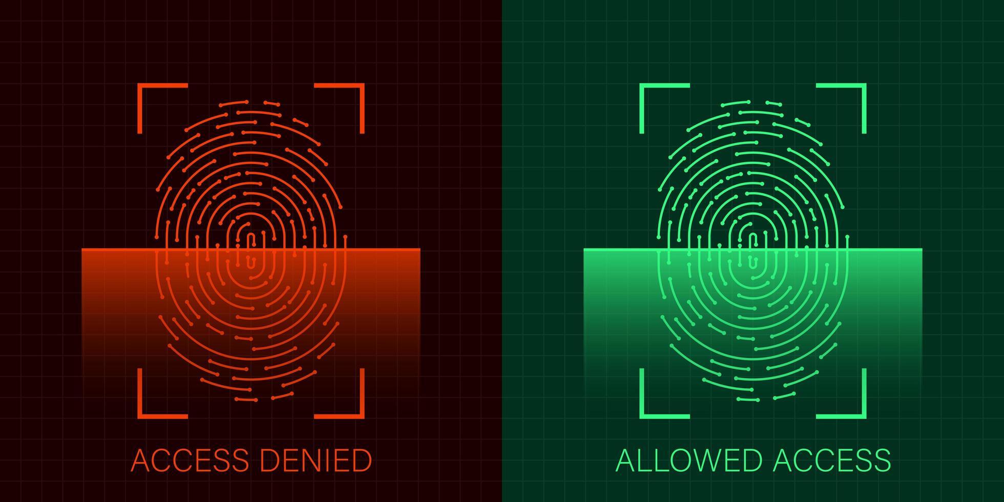 conjunto de acesso permitido e negado via impressão digital vetor