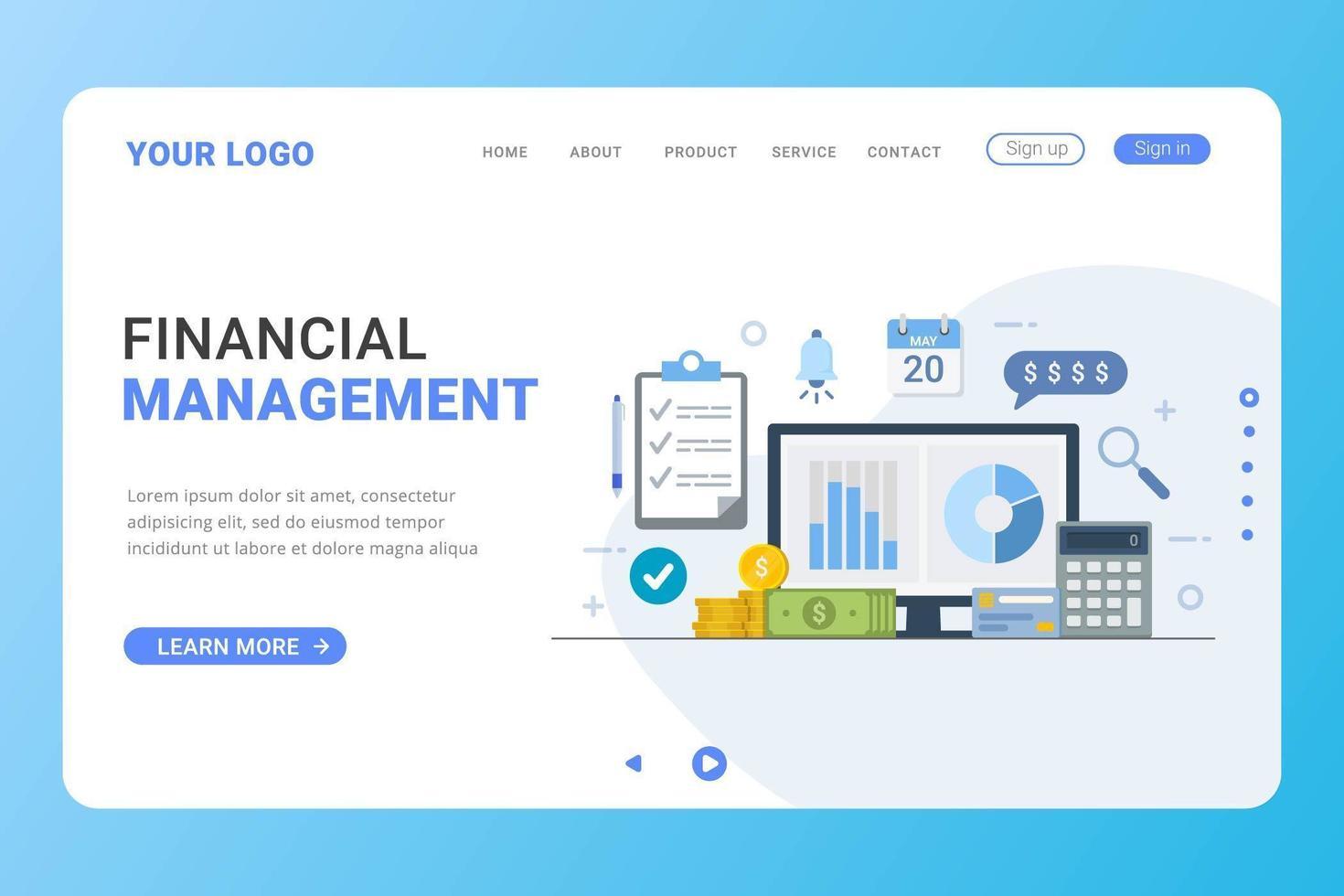 conceito de design de gestão financeira modelo de página de destino vetor
