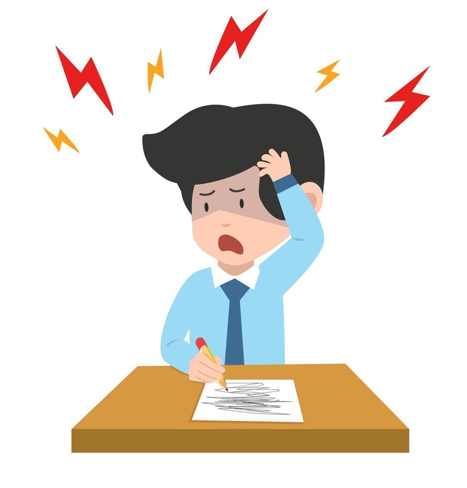 empresário com dor de cabeça escrevendo no papel vetor