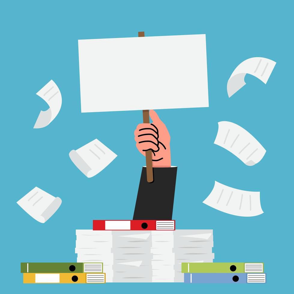 mão com uma pilha de papel e muitos documentos vetor