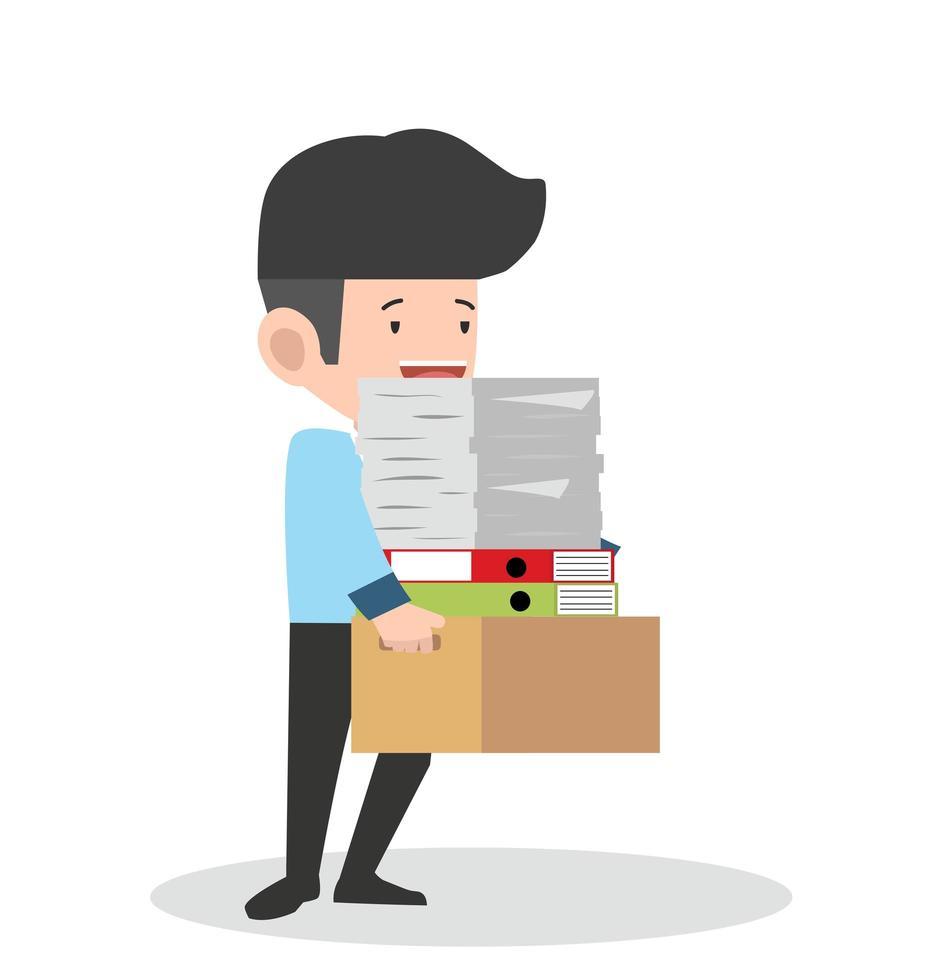empresário segurando muitos documentos vetor