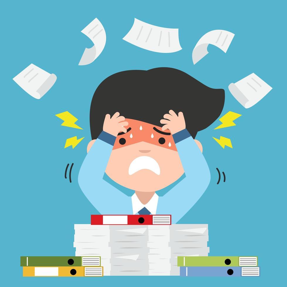 empresário estressado com muitos documentos vetor