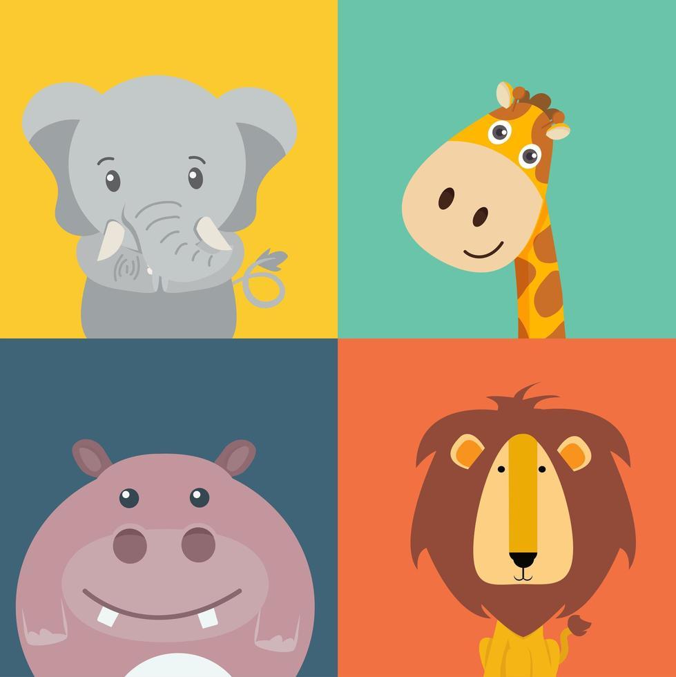 coleção de animais bonitos dos desenhos animados vetor