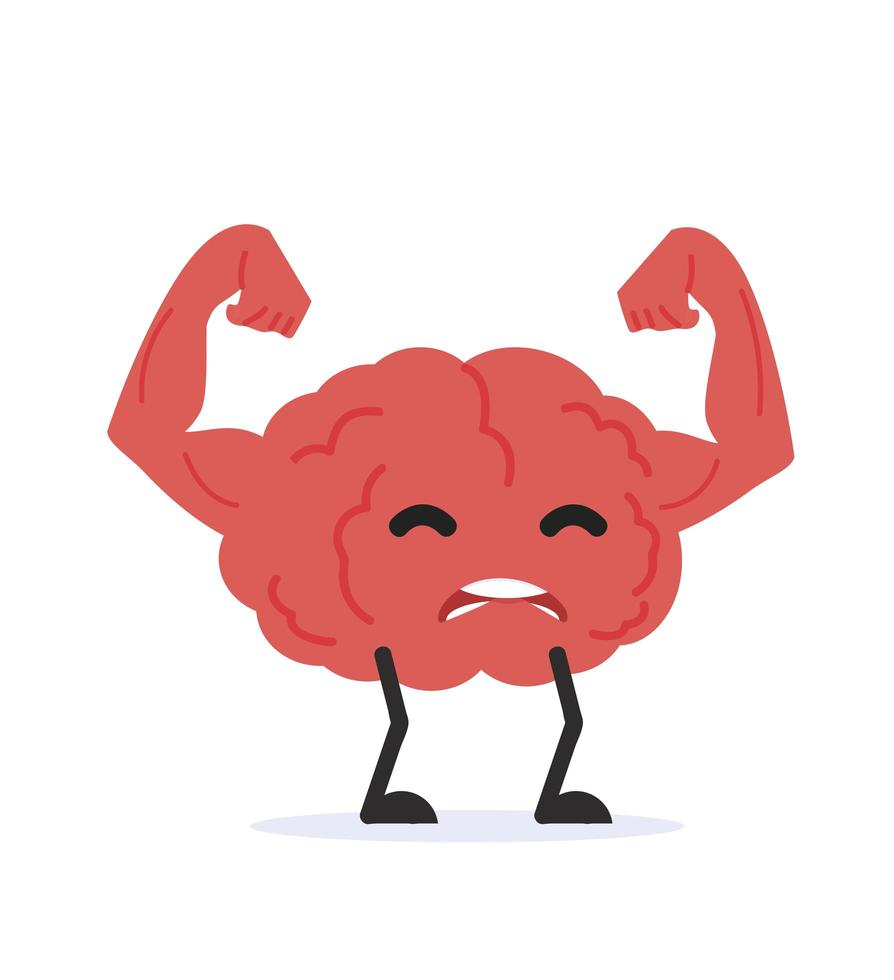 vetor de desenho animado de cérebro humano forte