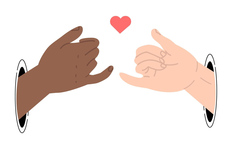 dedos mindinhos fazendo um gesto de promessa com a mão vetor