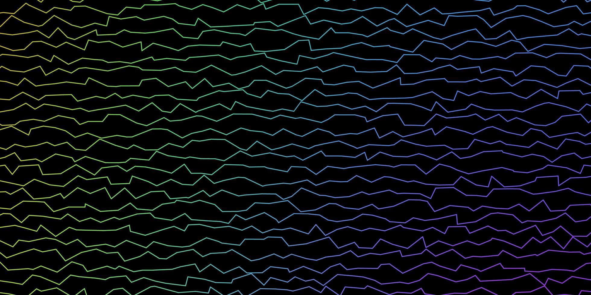 padrão de vetor multicolor escuro com linhas curvas.