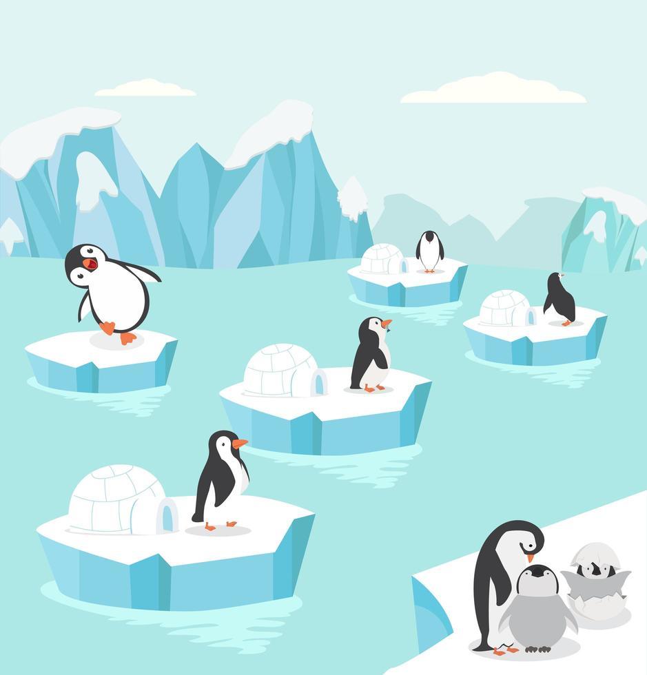 pinguins no fundo ártico vetor