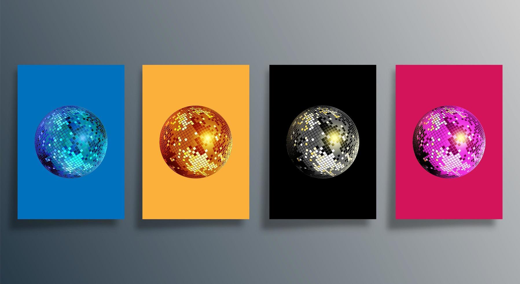 bola de discoteca em várias cores conjunto de capa vetor