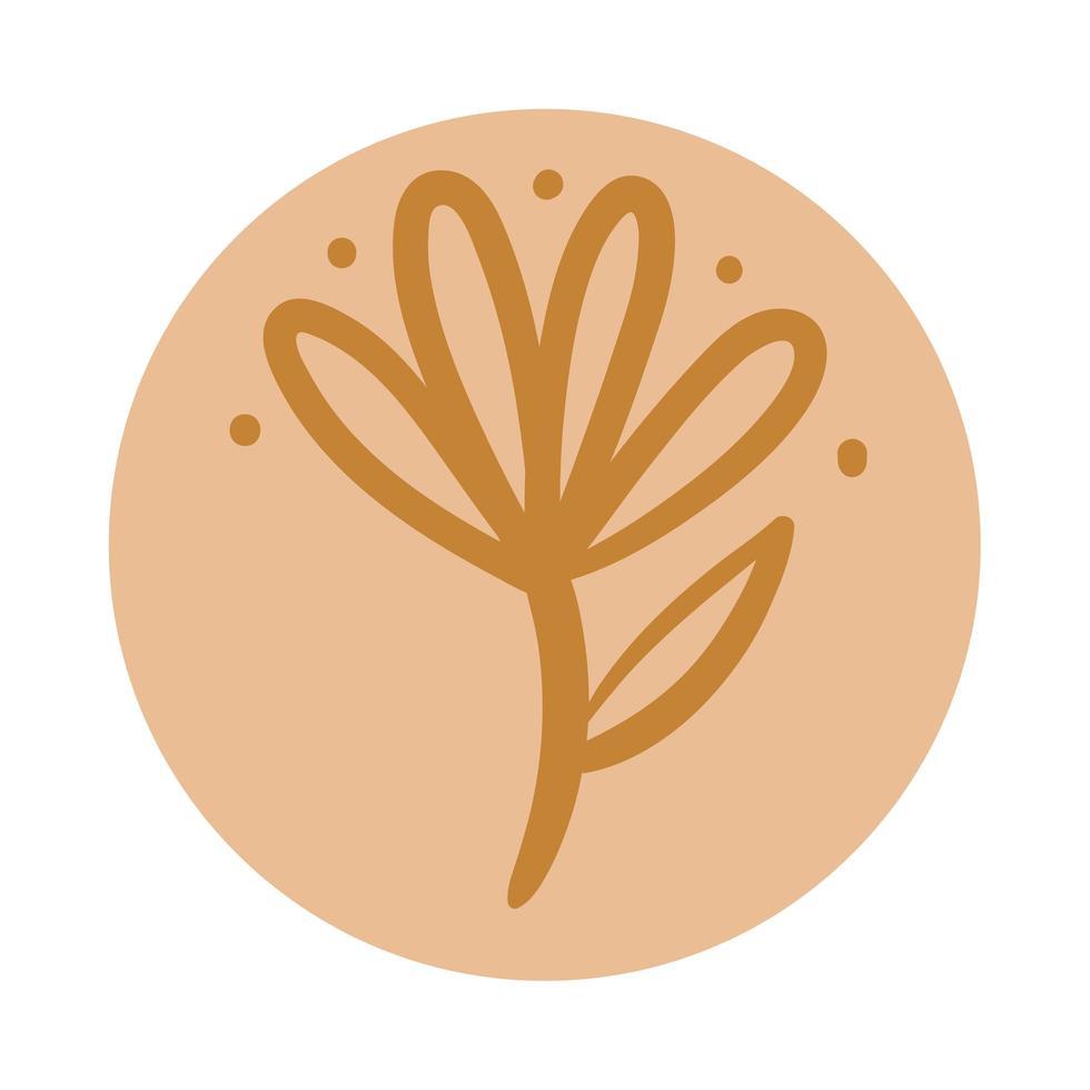 ramo com folhas estilo desenhado à mão boho vetor