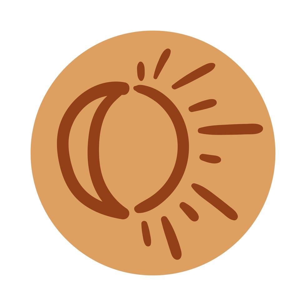 sol e lua estilo de desenho à mão boho vetor