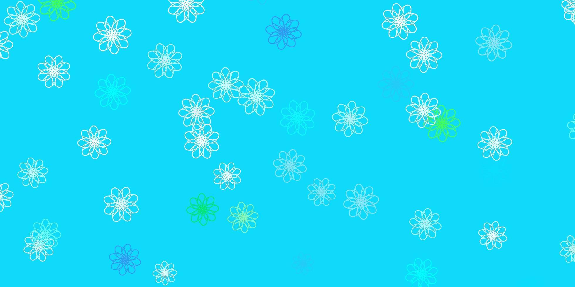 padrão de doodle de vetor azul e verde claro com flores.