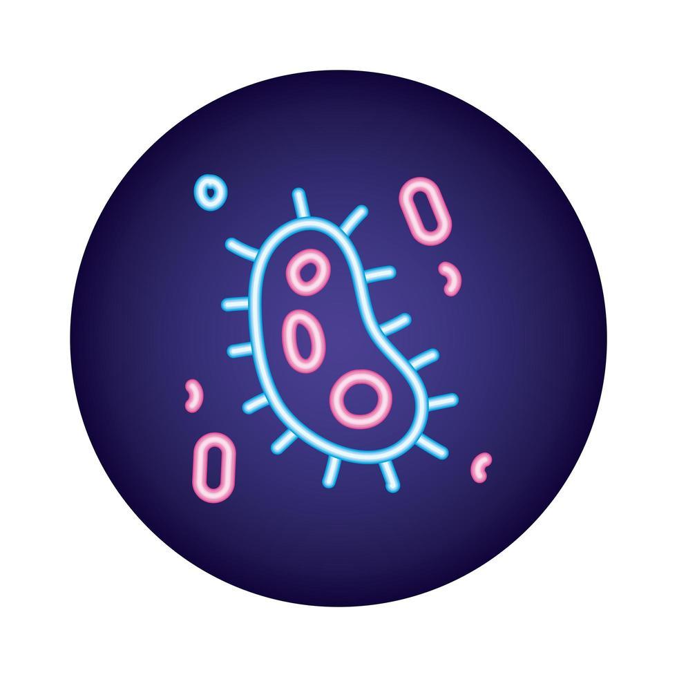 estilo néon de partícula de vírus covid19 vetor