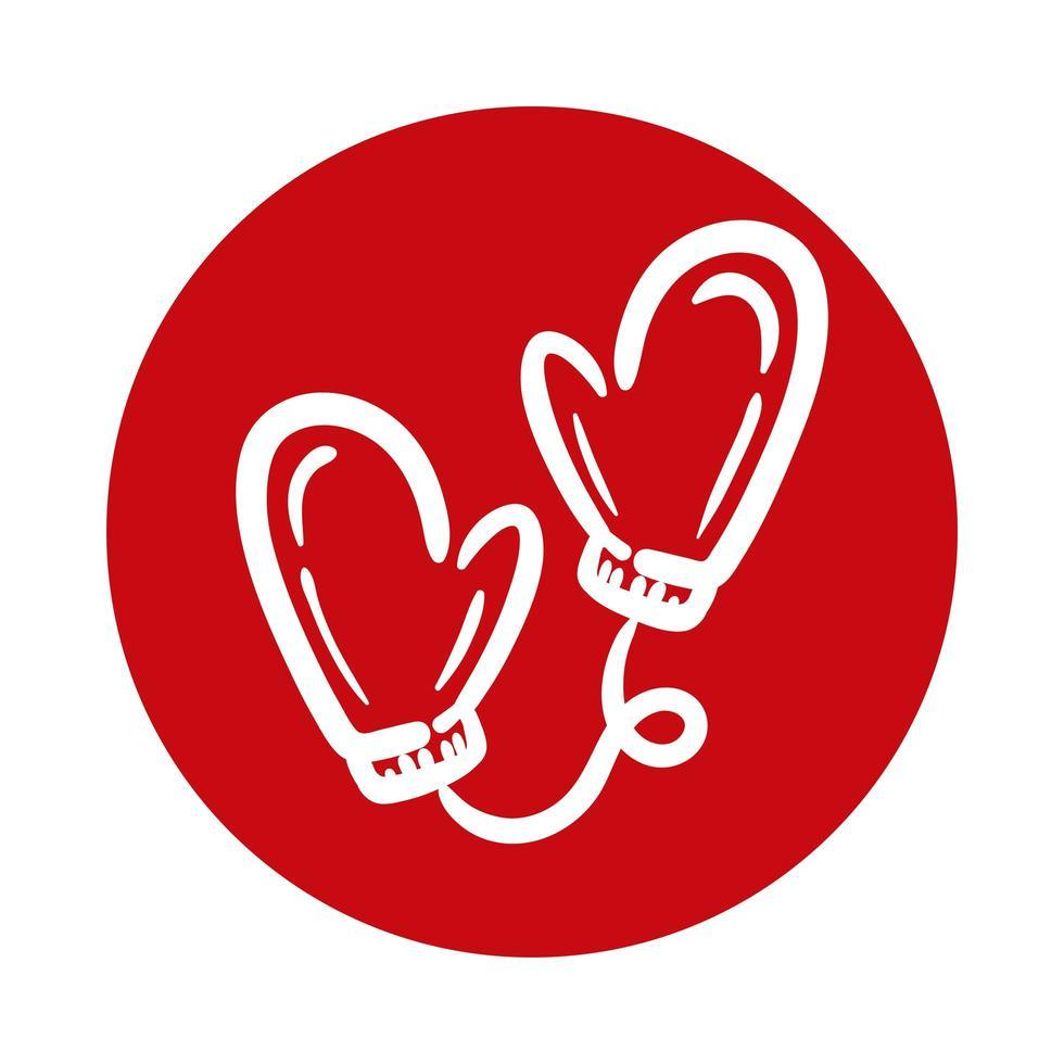 ícone de estilo de bloco de luvas de inverno vetor