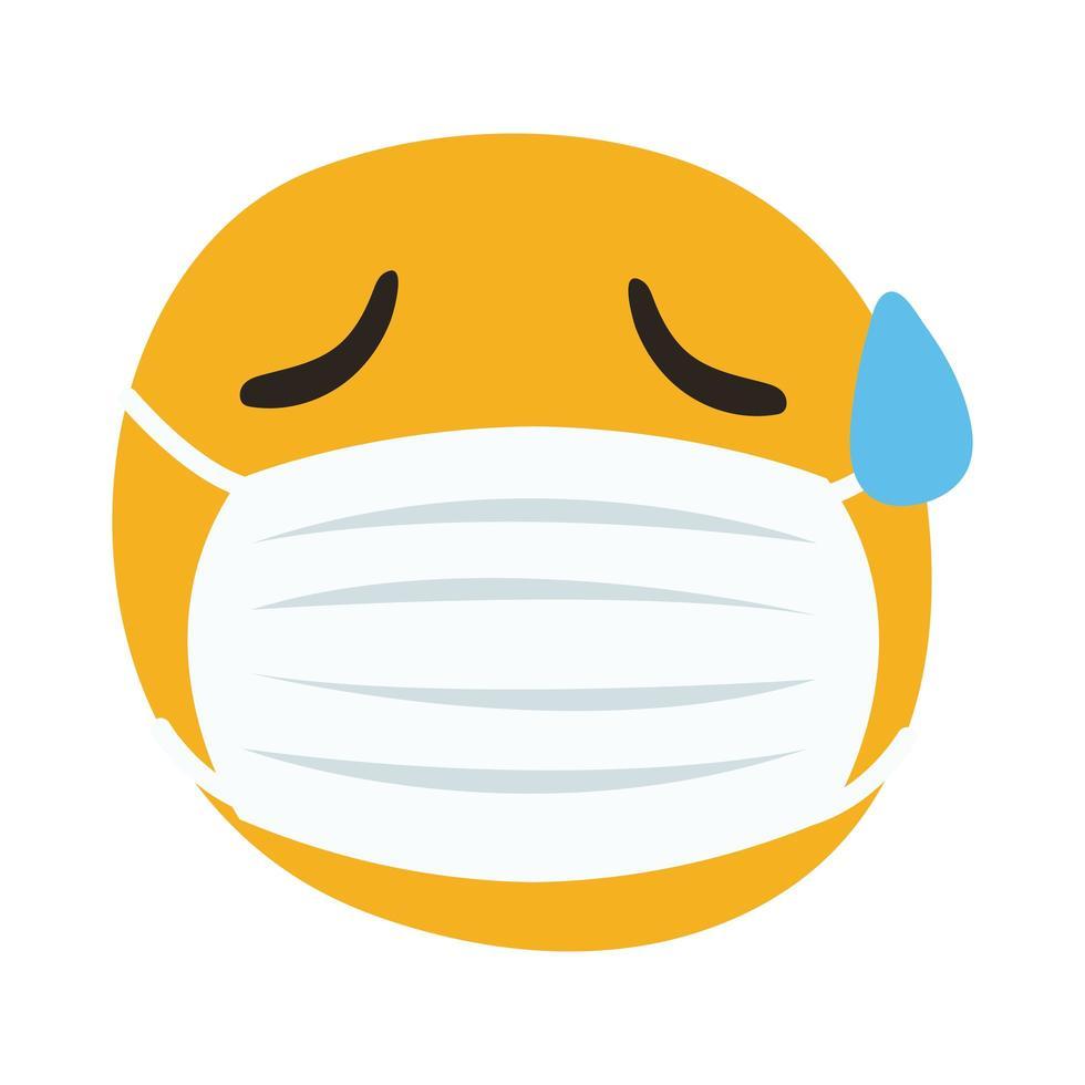 emoji usando máscara médica e suando estilo de desenho de mão vetor