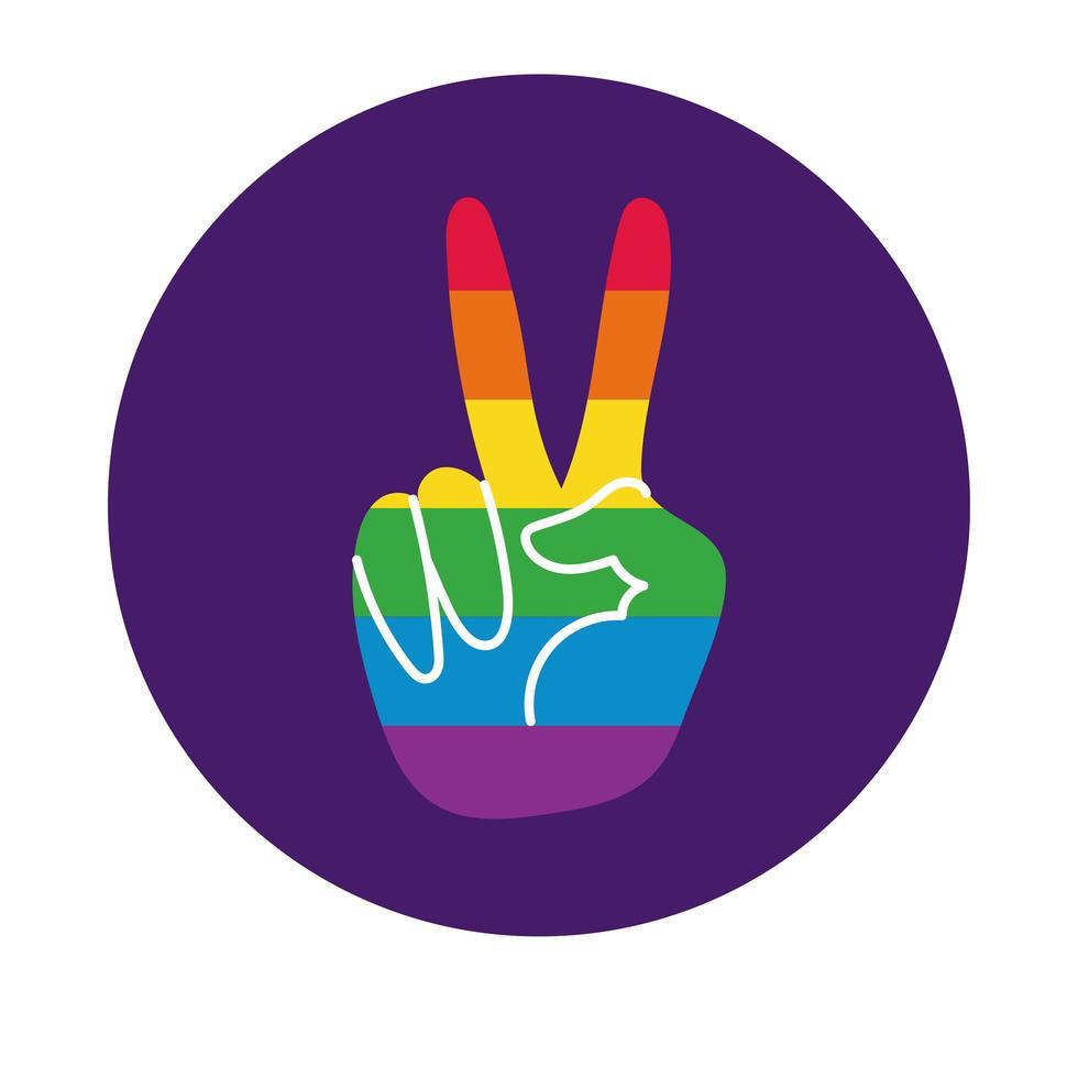 Mão fazendo o símbolo da paz com o estilo do bloco da bandeira do orgulho gay vetor