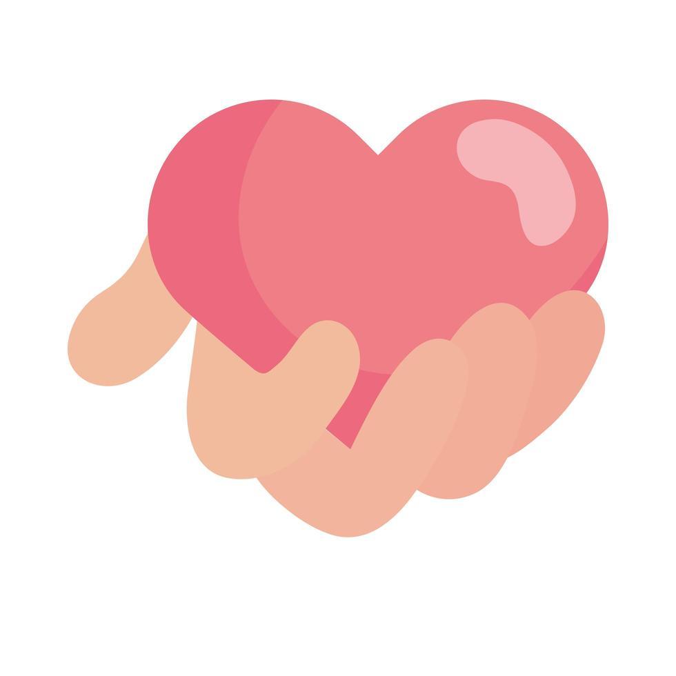 mão segurando desenho vetorial de coração rosa vetor