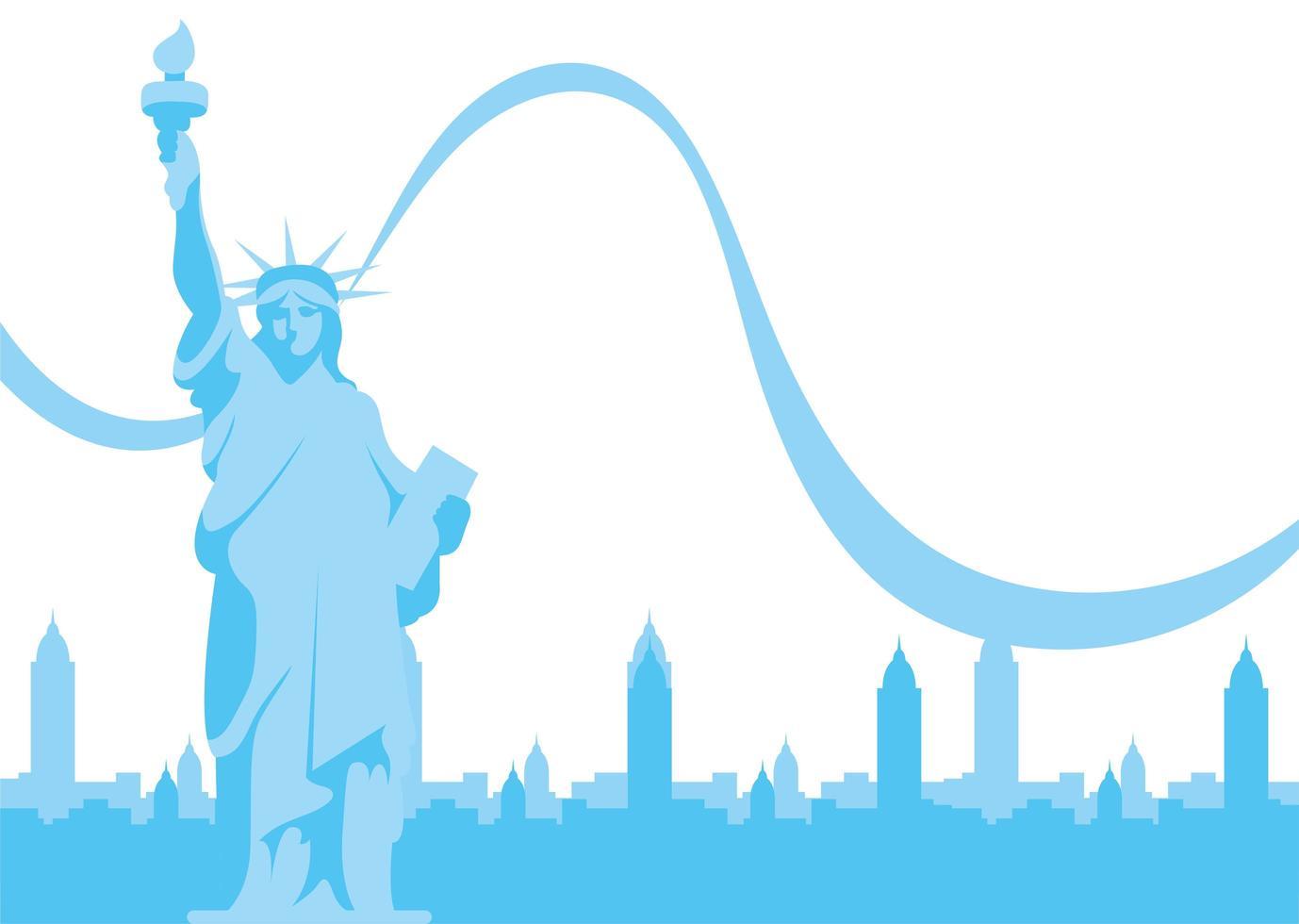 estátua da liberdade dos eua em frente ao desenho vetorial de edifícios da cidade vetor