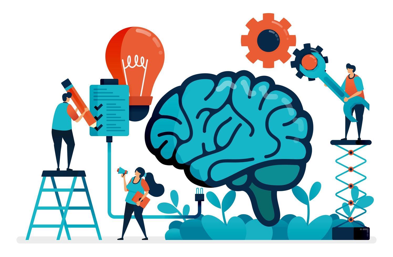 use inteligência artificial para completar tarefas. sistema multitarefa em cérebro artificial. ideias e inspiração na gestão de tarefas. inteligência na resolução de problemas. cartão de visita, banner, folheto, panfleto vetor