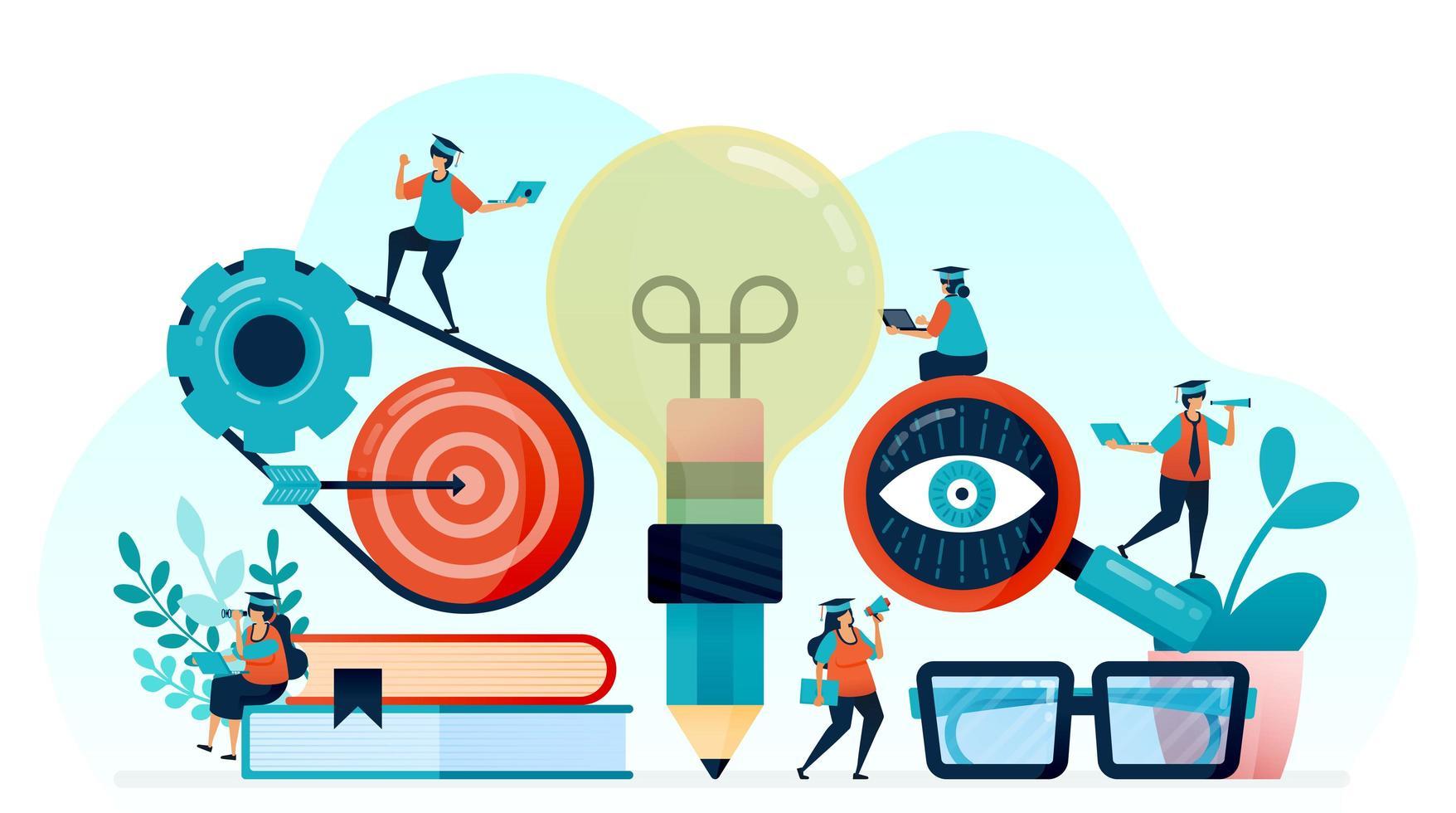 ilustração vetorial de ideia e inspiração na aprendizagem do aluno, lápis com ideia de lâmpada, aprender a atingir o alvo, em busca de iluminação e ciência em palestras, aprender a ter ideia e conhecimento vetor