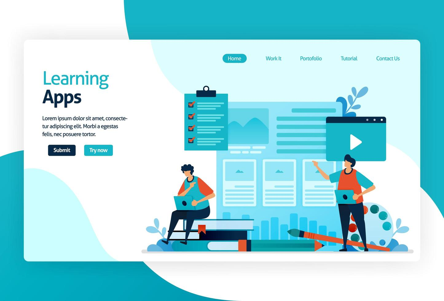 ilustração da página de destino para aplicativos de aprendizagem. processo educacional de aprendizagem de conhecimentos, habilidades, valores, crenças e hábitos. tecnologia digital no ensino, treinamento, contação de histórias, discussão. vetor
