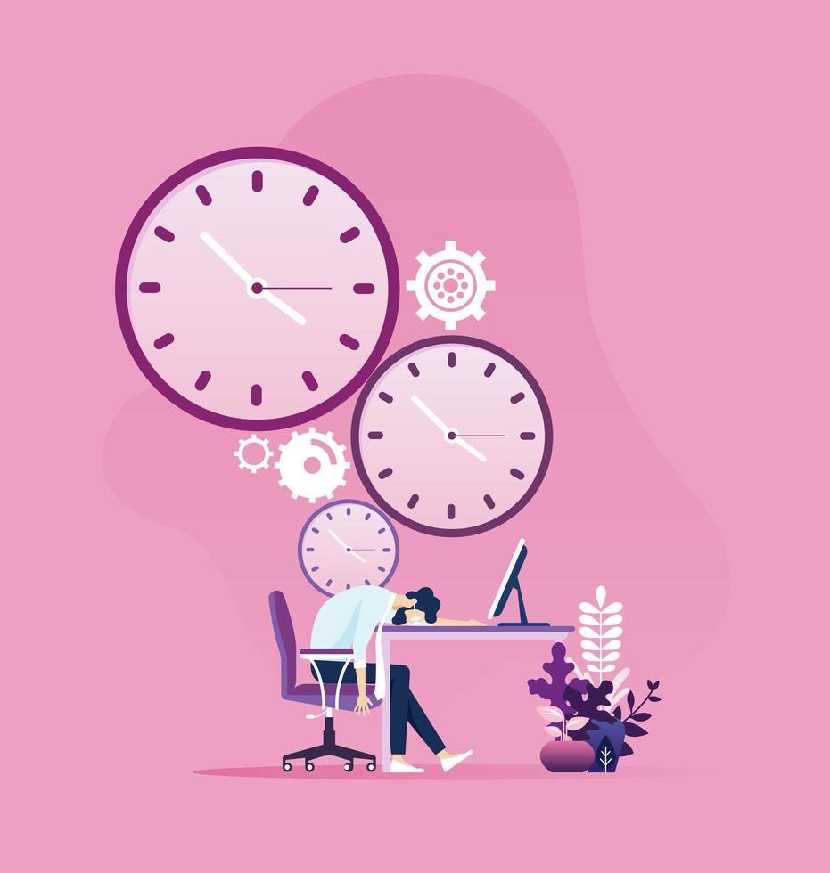 empresário cansado dormindo em uma mesa com o relógio ao fundo vetor