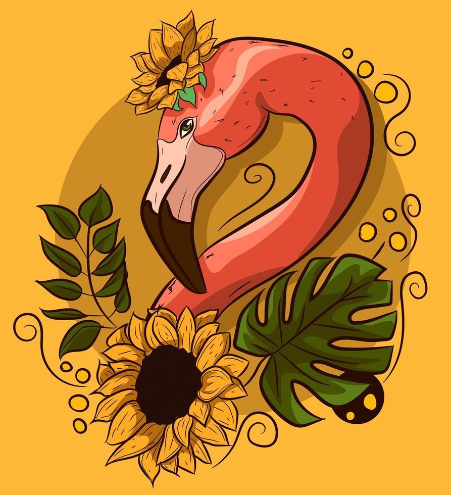 desenho vetorial floral com pescoço de flamingo com flores. vetor