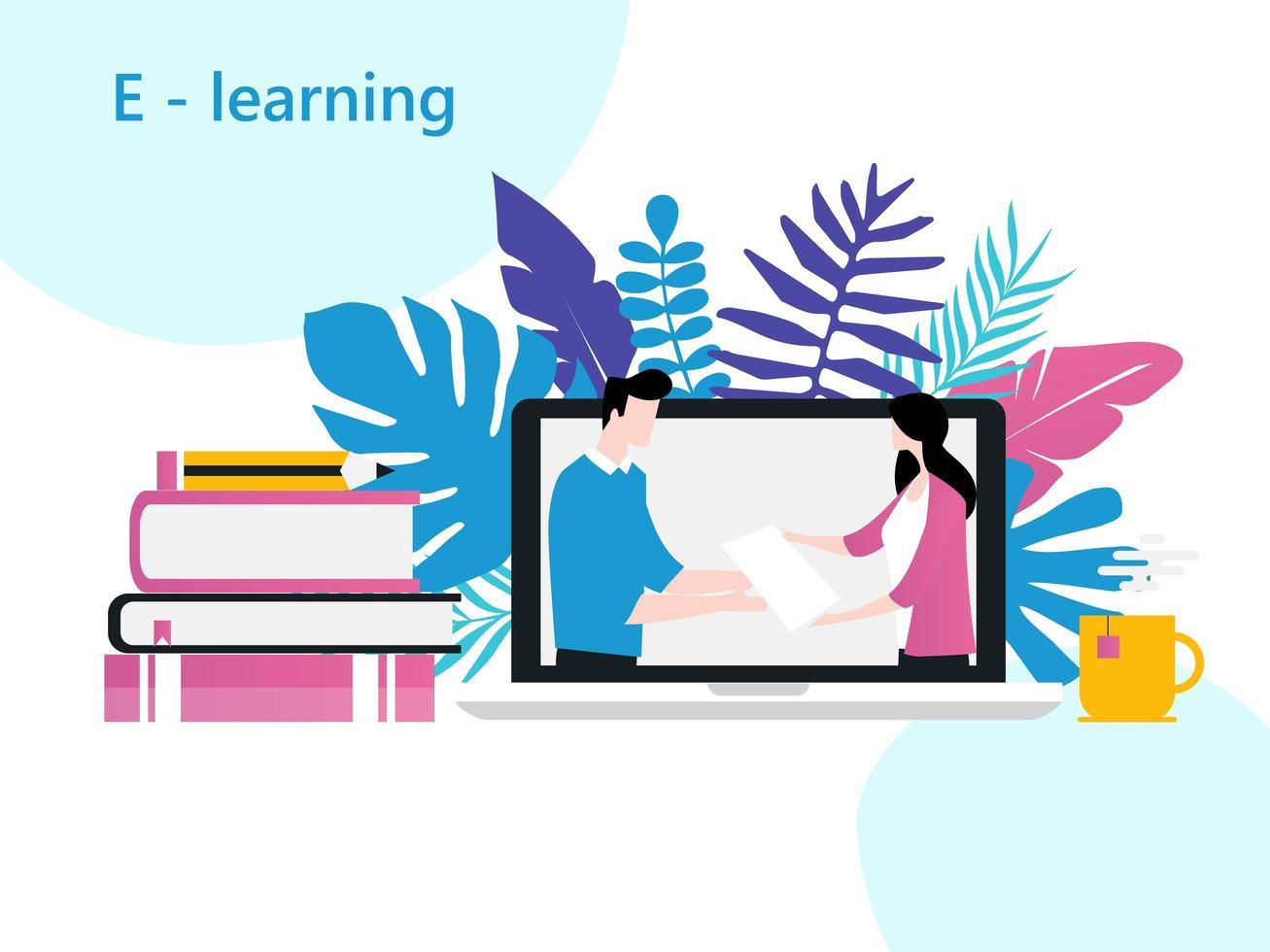 aulas online, escola online, e-learning, estudo em casa, educação a distância, sala de aula virtual vetor