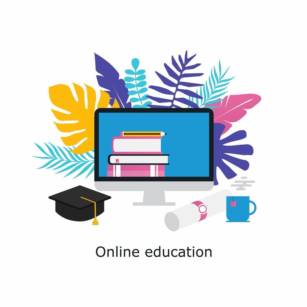 aulas online, conceito de sala de aula virtual vetor