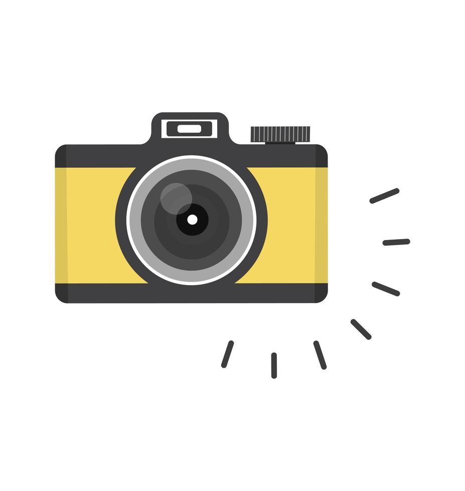 câmera de desenho animado clicando vetor