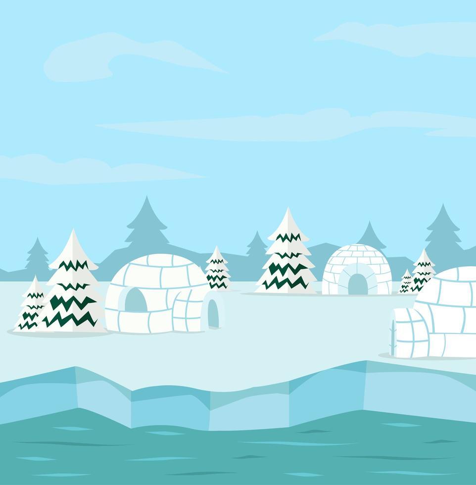 fundo ártico com iglus vetor