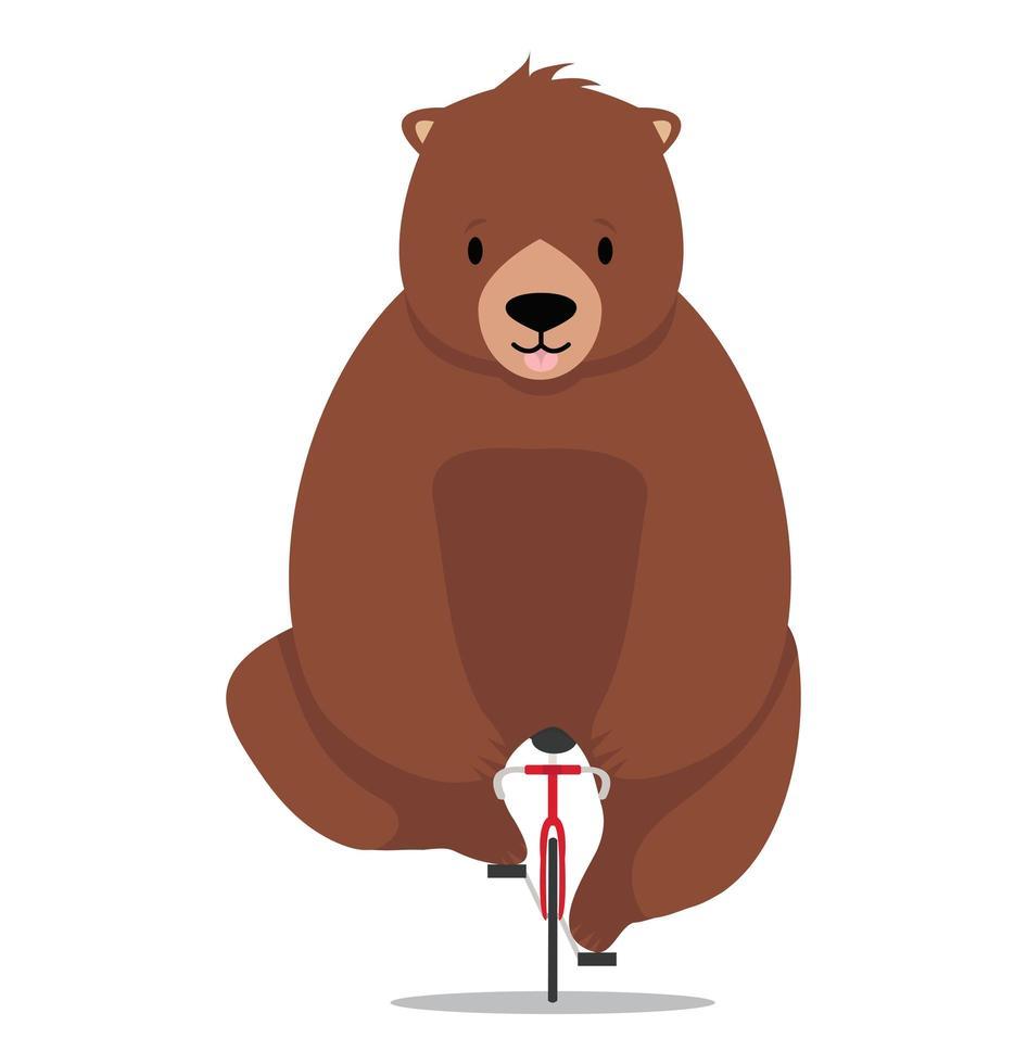 urso fofo andando de bicicleta vetor