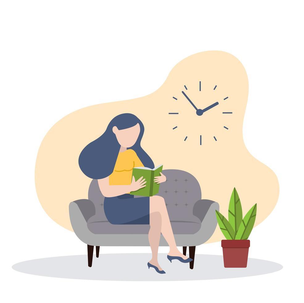 mulher lendo um livro no sofá vetor