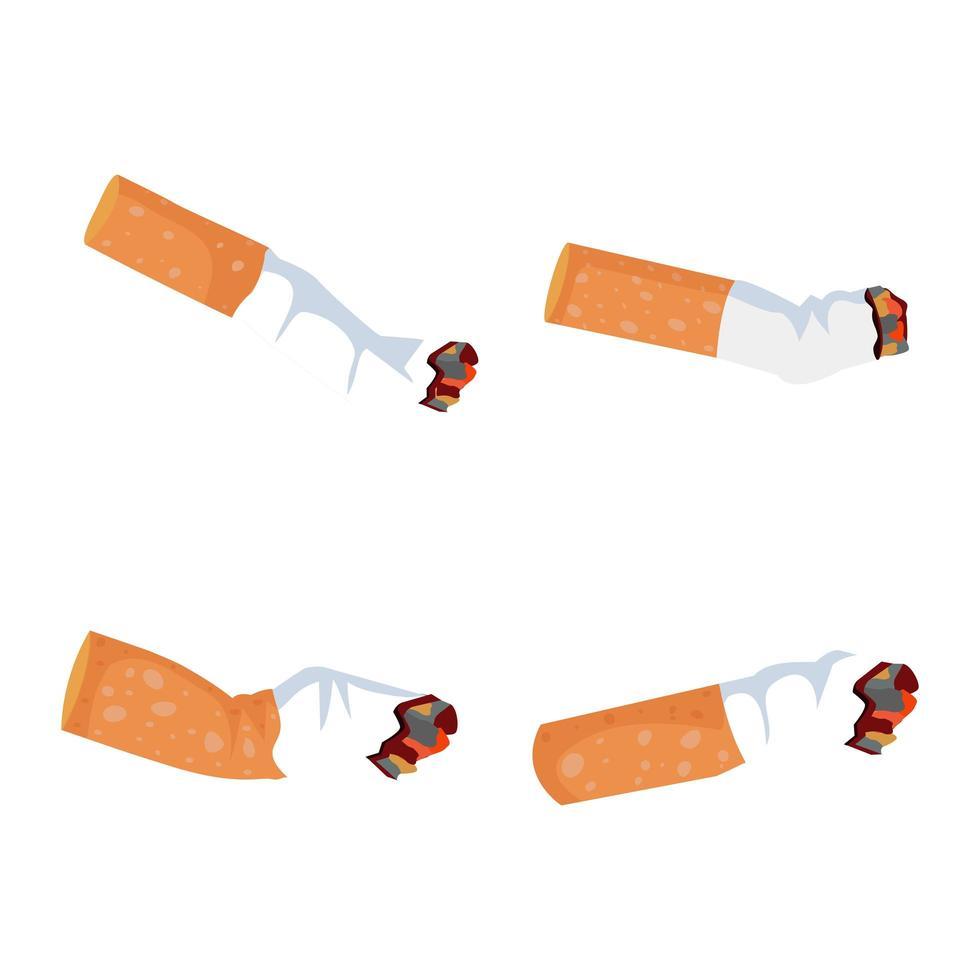 conjunto de bituca de cigarro vetor