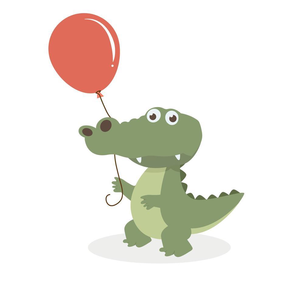 crocodilo fofo com balão vetor